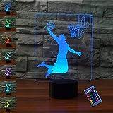 Ilusión óptica 3D Baloncesto Luz de Noche 16 Colores que Cambian Control Remoto USB Poder Touch Switch Decor Lámpara LED Mesa Lámpara Niños Juguetes Cumpleaños Navidad Regalo