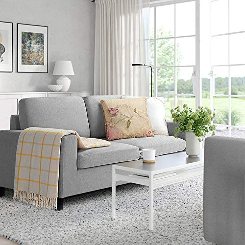 LEMBERI 51'' Small Loveseat Sofa Couch for Living Room, Small Modern Couch with Linen Fabric, Love Seats 2-seat Sofa Couch Space Saving for Small Space,Upstairs loft,Small Apartment,Dorm (Light Grey)