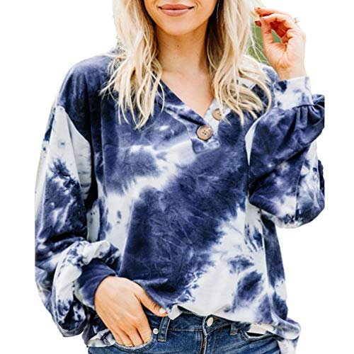 Yuanu Sweat Tie Dye Femme Manche Longue Col en V Profond Boutons Hauts Pulls Automne Hiver Décontracté Imprimé Extérieur Ample Pull Streetwear pour Dames Filles Bleu M