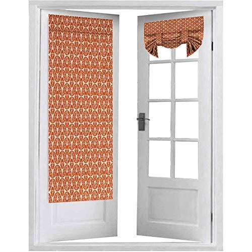 Cortina opaca para puerta francesa, diseño de círculos entrelazados con diseño de flores, 1 panel de cortina de oscurecimiento de habitación de 66 x 172 cm, color crema
