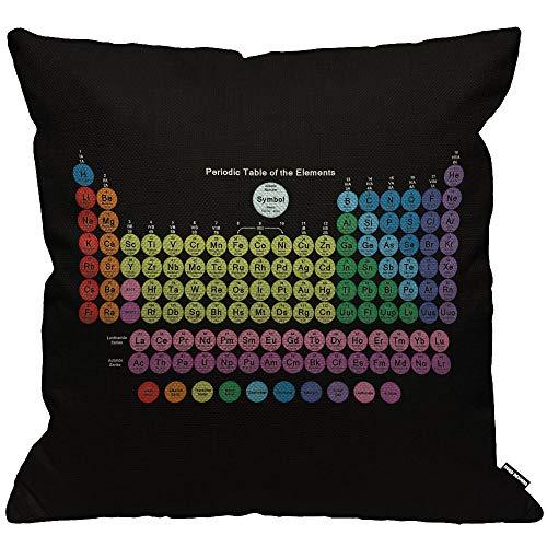 Funda de cojín HGOD Designs, tabla periódica de elementos químicos, funda de almohada decorativa para el hogar para hombres y mujeres, sala de estar, dormitorio, sofá, silla de 45 x 45 cm