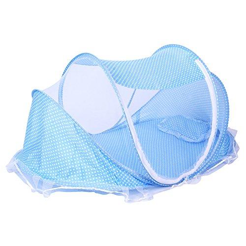 ThreeH El pesebre plegable del viaje de la tienda de la cama de bebé de la red de mosquito BX04,Blue