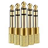 Liroyal ステレオミニプラグ 変換 ステレオ標準プラグ (5個) 金メッキ 3.5mm ⇒ 6.35mm アンプヘッドホン変換