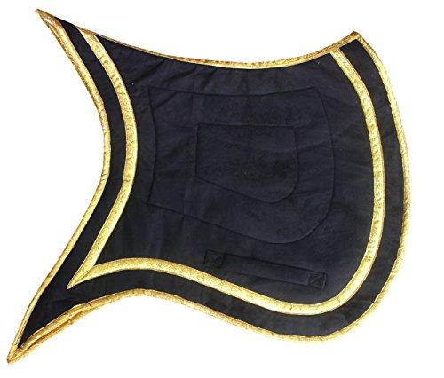 AMKA Schabracke Barock Spanisch mit Schwalbenschwanz und Goldener Einfassung schwarz