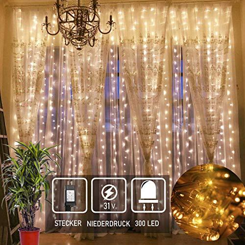 Led Lichtervorhang für Weihnachten 300 leds sterne Lichterkette weihnachtsdeko Innen Außen Garten Fenster deko Innenbeleuchtung warmweiß 3x3m