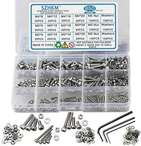 SZHKM 850pcs Stainless Steel Nuts and Bolts Assortment Metric Machine Screws Set M2 M3 M4 Screws product image