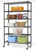 16''Lx42''Wx72''H 6 Shelf Wire Shelving Unit Heavy Duty Metal Storage Shelves NSF Wire Shelf Organizer Black Height Adjustable Utility Steel Commercial Grade Layer Shelf Rack 1500 LBS Capacity