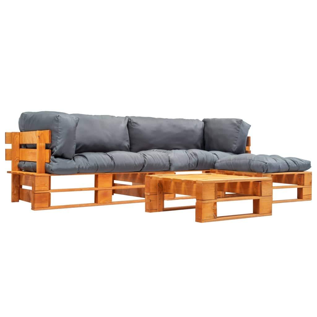 UnfadeMemory Sofa Palets Exterior con Mesa de Centro y Cojines,Sofá de Jardín,Sofás de Interior,Respaldo Extraíbles,Rústico,Sofás 220x126x65cm,Madera FSC (Gris y Marrón Miel): Amazon.es: Hogar