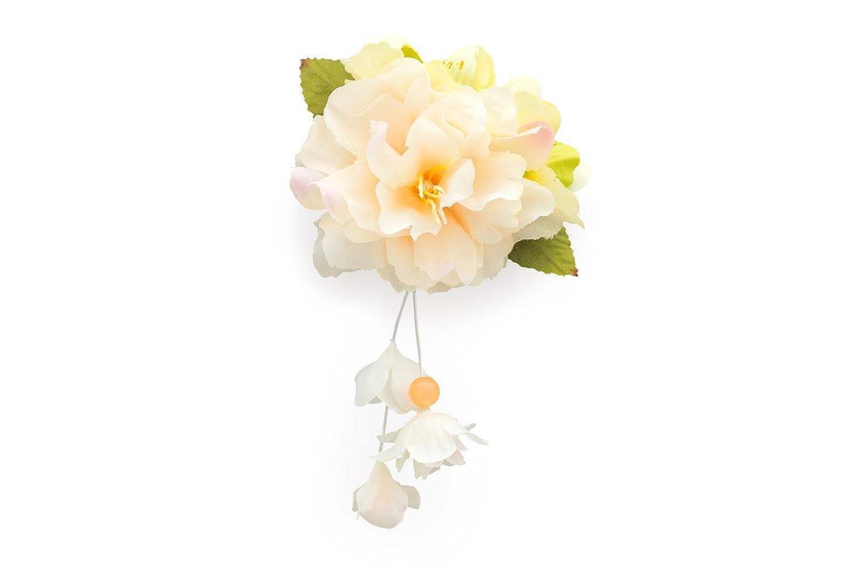 (ソウビエン) 髪飾り 薄橙色 ライトオレンジ 緑 白 ホワイト 花 フェイクパール フラワー ぶら飾り クリップ 浴衣 ヘアアクセサリー