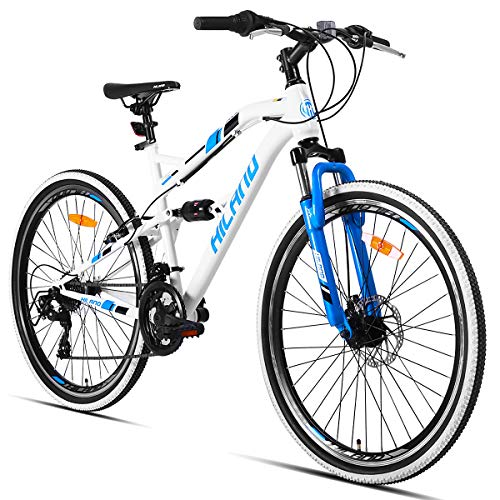 Hiland 26 Inch Mountain Bike MTB Bicycle with 18 Inch Full-Suspension Steel Frame Kickstand Disc-Brake Suspension Fork Cycling Urban Commuter City Bicycle White Blue