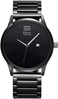 TBS Designer Mens Watch- Gunmetal Grey Stainless Steel- Premium Japanese Quartz Movement- Classic Minimalist Design- Blackout Edition