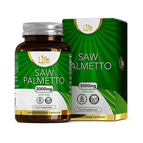 L1fe Nutrition Saw Palmetto & Zinc Capsules | 3000mg Saw-Palmetto Extract & 15mg Zinc per Serving | 120 Vegan Capsules | Non-GMO, Dairy, Allergen & Gluten Free | Manufactured in The UK