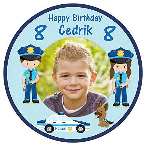 Tortenaufleger Tortenbild Geburtstag Kindergeburtstag Polizei Jungen Wunschtext Foto essbar Ø 20cm 2100