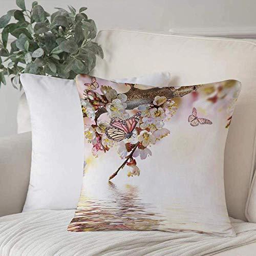 Qoqon Funda de Almohada, Funda de cojín Moderno, jardín de Estilo japonés Floral Natural Flor de Cerezo Sakura Tree Butterfly NHome Decor Funda de cojín Cuadrado Acogedor para sofá Funda de Almohada