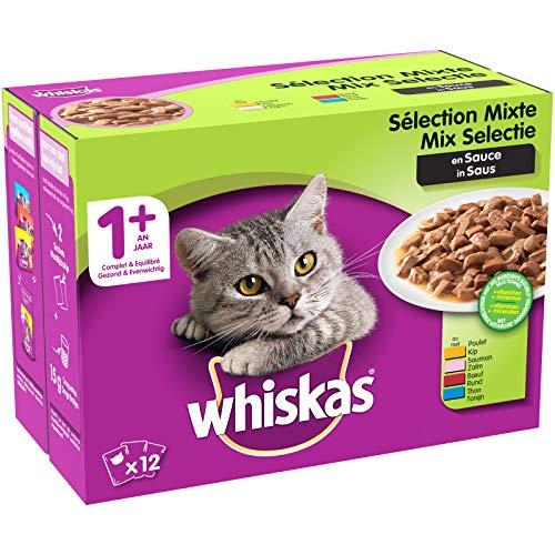 Whiskas Sélection Mixte en Sauce – Nourriture humide pour chat adulte – Alimentation complète en sachets fraîcheur – 48 x 100g