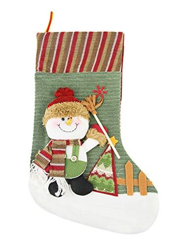 LY Cadeau Noël Créatif Chaussette Bas de Noël à Suspendre Peluche Motif Bonhomme de Neige Socks Sac Chaussettes de Noël