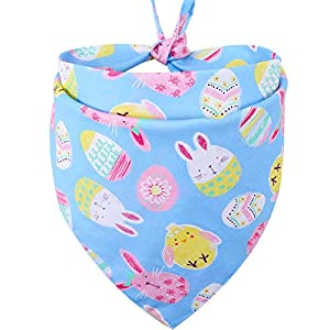 KZHAREEN Easter Dog Bandana Reversible Triangle Bibs Scarf Accessories for Dogs Cats Pets