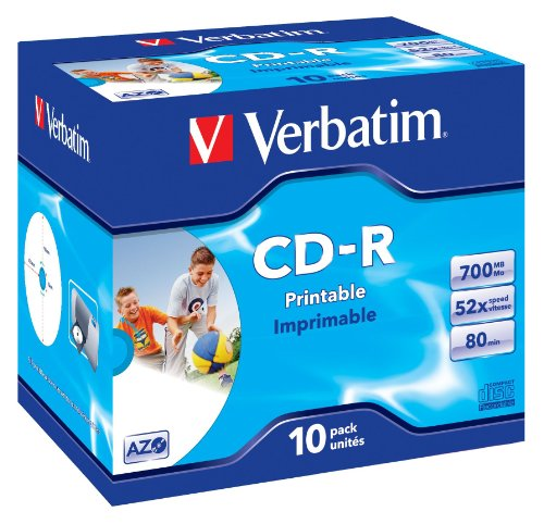 Verbatim CD-R AZO Wide Inkjet Printable 700 MB I 10er Pack Jewel Case I CD Rohlinge I 52-fache Brenngeschwindigkeit mit langer Lebensdauer I leere CDs bedruckbar I Audio CD Rohling