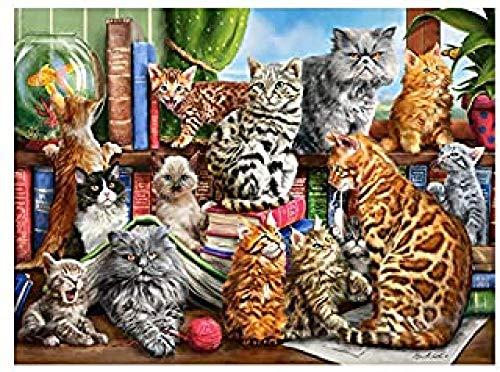 Yzqxiongtu Monster Cat puzzel, 1000 stukjes, houten puzzel voor volwassenen, educatief puzzelspeelgoed voor kinderen