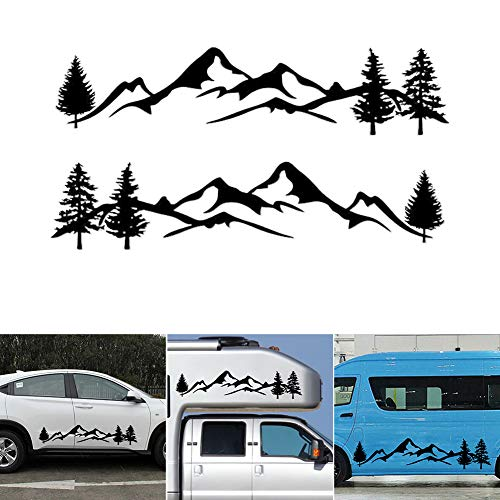 PoeHXtyy Mountain Tree Car-Styling Vehículo Body 2 Side Skirt Camping Autocaravana Remolque Calcomanías Pegatinas Decoración
