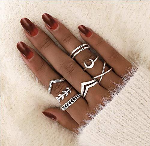 Chmier - Juego de 7 anillos de nudillos bohemios para niñas con gema vintage, anillos de cristal para nudos, para fiestas de adolescentes y fiestas diarias, regalo festivo