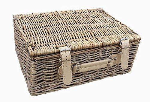 Red Hamper Wicker Willow 30cm Antique Wash Empty Picnic Basket