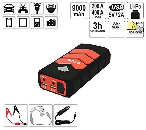 YATO Profi Powerbank mit Jumpstarter 200A/400A/9000 mAh | 5V/2A USB | 12V 3,5A | Notlicht | Tragbare Auto Starthilfe Autobatterie Anlasser Taschenlampe Powerstation Ladegerät Überbrückungskabel