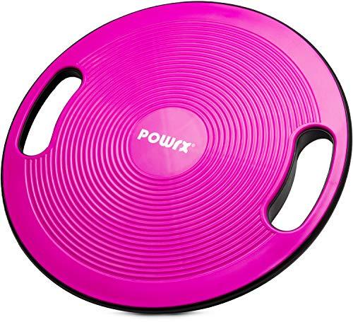 POWRX Balance Board inkl. Workout I Wackelbrett Ø 40cm mit Griffen I Therapiekreisel für propriozeptives Training und Physiotherapie versch. Farben Pink