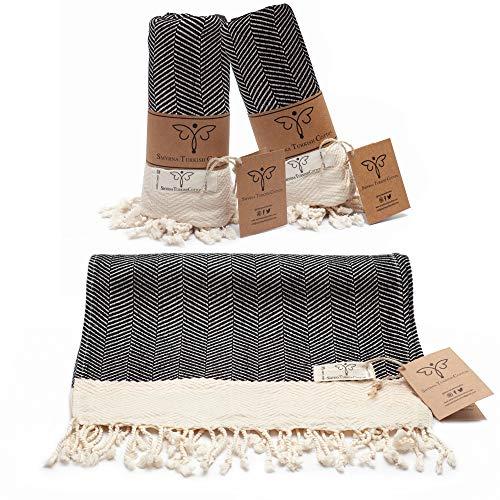 Smyrna Original Turkish Hand Towels Herringbone Series Set of 2 | 100% Cotton, 16 x 40 Inches | Decorative Bathroom Peshtemal Towel for Hand, Face, Hair, Gym, Yoga, Tea, Kitchen and Bath (Black)