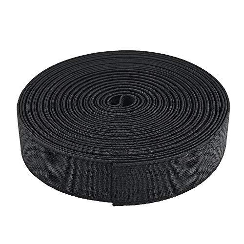 Tejido elástico de Costura, Cintas de Coser, Banda Elástica de Punto Elástico Pesado 2 cm * 40 m Gran Elasticidad (Negro)