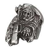 MOKING - Anillo de acero inoxidable con diseño de calavera de la muerte de Hijos de la anarquía (10)