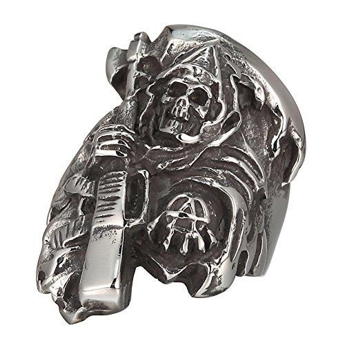 MOKING - Anillo de acero inoxidable con diseño de calavera de muerte de Hijos de la anarquía (11)