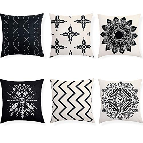 6 Pieces Black and White Boho Throw Pillow Cover Decorative Geometric Flax Woven Decorative Pillowcase for Sofa Couch Living Room Bedroom 18 x 18 Inch