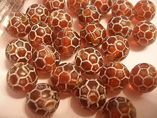Boutique d'isacrea Lot de 25 Perles ACRYLIQUES : Ronde Marron/Blanche 9mm