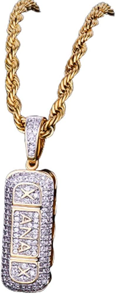 Moca Jewelry Iced Out Pill Capsule Pendant Necklace 18K Gold Plated Bling CZ Simulated Diamond Hip Hop Rapper Chain Necklace for Men Women