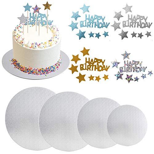 KINDPMA 4 Piezas Bases de Cartón Redondas para Tartas 15 20 25 30CM Cake Board 2MM Almohadilla de Tarta de Pisos con 4pcs Toppers de Tarta para Tarta DIY Plata