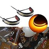 Vitihipsy - 1 par de tiras de horquilla LED naranja ámbar intermitente para moto universal