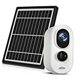 Wireless Outdoor Security Camera WiFi Solar IP Surveillance Cams Home Security Cam with PIR/Human Motion Detection Night Vision, 2-Way Audio, Solar Panel, IP 65 Waterproof , Tuya Smart App