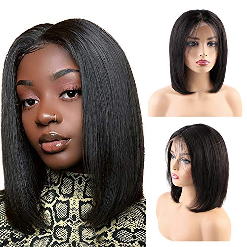 BLISSHAIR Human Hair Wig Straight Short Bob Lace Frontal Wig Brazilian Hair 13x4 Ear to Ear Frontal Wigs Pre Plucked Glueless Lace Wigs Natural Hairline with Baby Hair 150% Density(12inch)