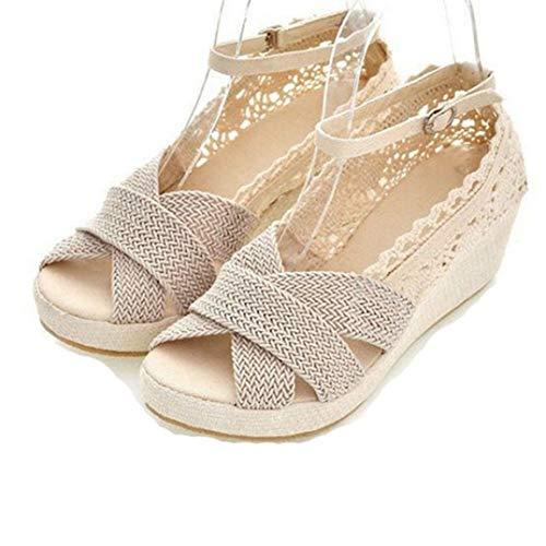 Sandalias De Cuña De Mujer Plataforma De Verano Calzado De Punta Abierta Calzado De Playa De Vacaciones Casual Señoras De Tobillo Zapatos De Correa