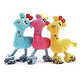 SZMYLED 3 piezas perro chillido juguetes de felpa suave para perros Molar juguete interactivo juguetes mejor perro masticar juguete 1* rosa ciervo 1* amarillo ciervo + 1* azul ciervo