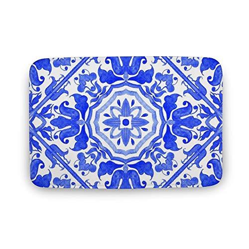 VinMea zachte indoor deurmat, Portugese Azulejo tegels deur matten tapijt voor badkamer keuken slaapkamer entree vloer matten, grappige bad mat, 16