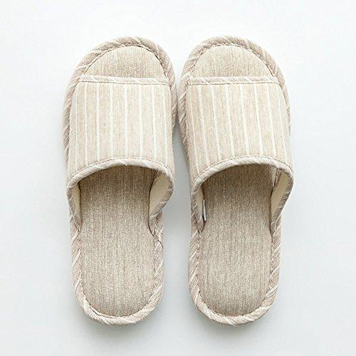 Confortable Printemps Automne à la Maison Chaussons de Sol en Bois à la Maison Homme intérieur d'été Doux Chaussures Respirantes Pantouches antidérapantes en Coton Lin (2 Couleurs en Option) (ta