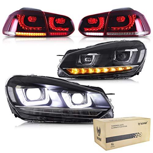 VLAND Scheinwerfer und Rückleuchten für Golf 6 MK6 VI GTD TSI TDI 2008 2009 2010 2011 2012 2013 Frontleuchte Rücklichter, mit sequentieller Anzeige, DRL Tech,RHD oder LHD,Rot und weiß
