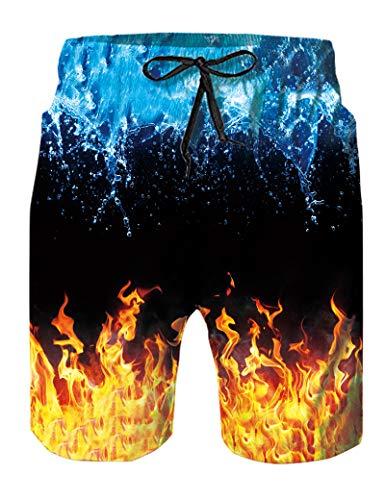 Goodstoworld Badehose Herren Badeshorts 3D Wasser und Feuer Gym Shorts Schnelltrocknend Kurze Hose Jogginghose M