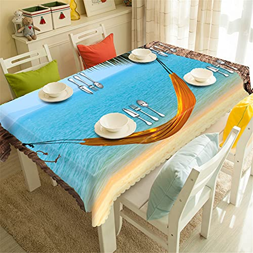YGHBKL Yellow Hammock During Coastal Holiday 3D Tablecloth Polyester Rectangular Tablecloth Picnic Fabric Main Decoration 90 x 180 cm
