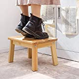 HOUCHICS Solid Birch High Gloss Step Stool Wooden Kids Potty Training Stool with 220lb Load Capacity Foot Stool for Kitchen,Bedroom,Living Room,Bathroom (Wooden)