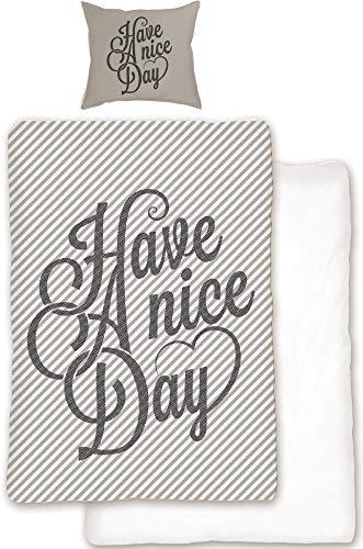 BERONAGE Have A Nice Day Parure de lit réversible 135 x 200 cm + 80 x 80 cm – 100% linon/renforcé Housse de Couette Lifestyle Wohnen Decoration Allemande