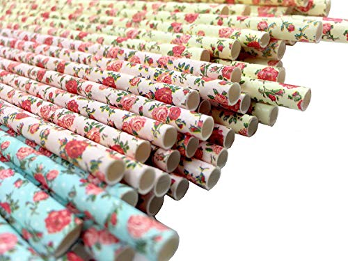 JPACO Floral Paper Straws (75 Pack, Pink, Blue, Yellow) Vintage Flower & Rose Designs, Biodegradable Eco Friendly Disposable Party Straws for Party & Events