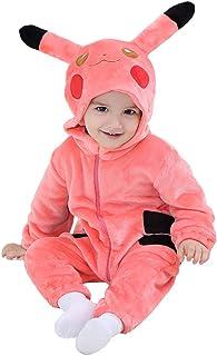 Baby Pikachu Costume Kigurumi Cartoon Animal Rompers Infant Toddler Flannel Warm
